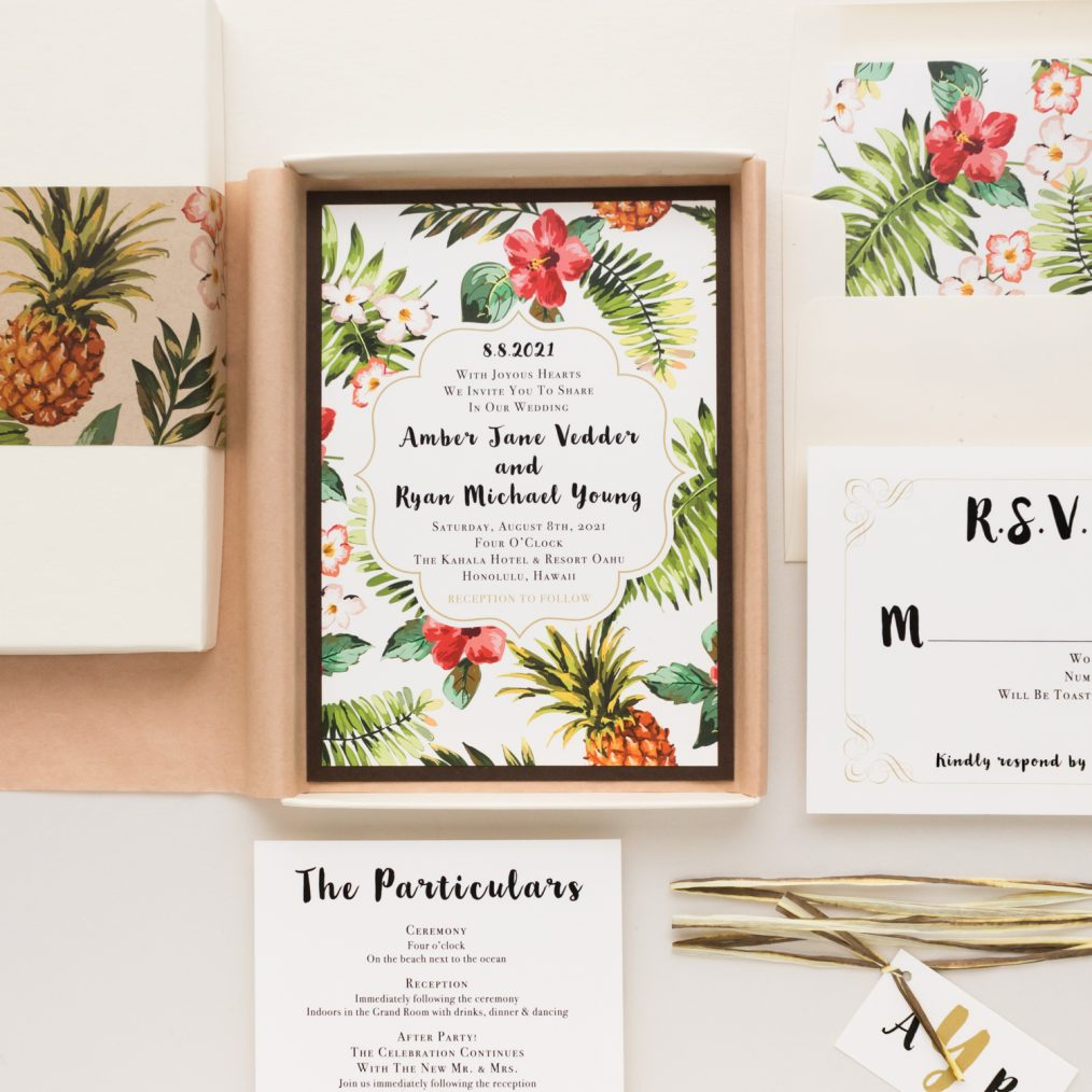 Tropical Pineapple Paradise Wedding Invitations