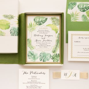 Tropical Green Boxed Wedding Invitations