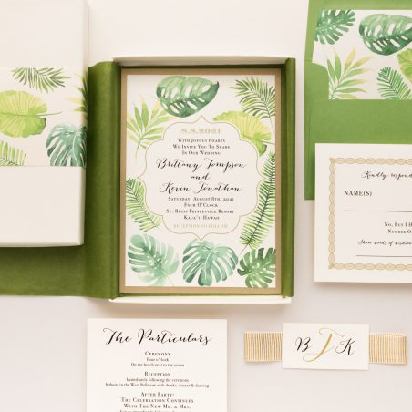 Unique Tropical Greenery Boxed Wedding Invitations
