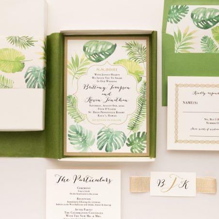Unique Tropical Greenery Boxed Wedding Invitations