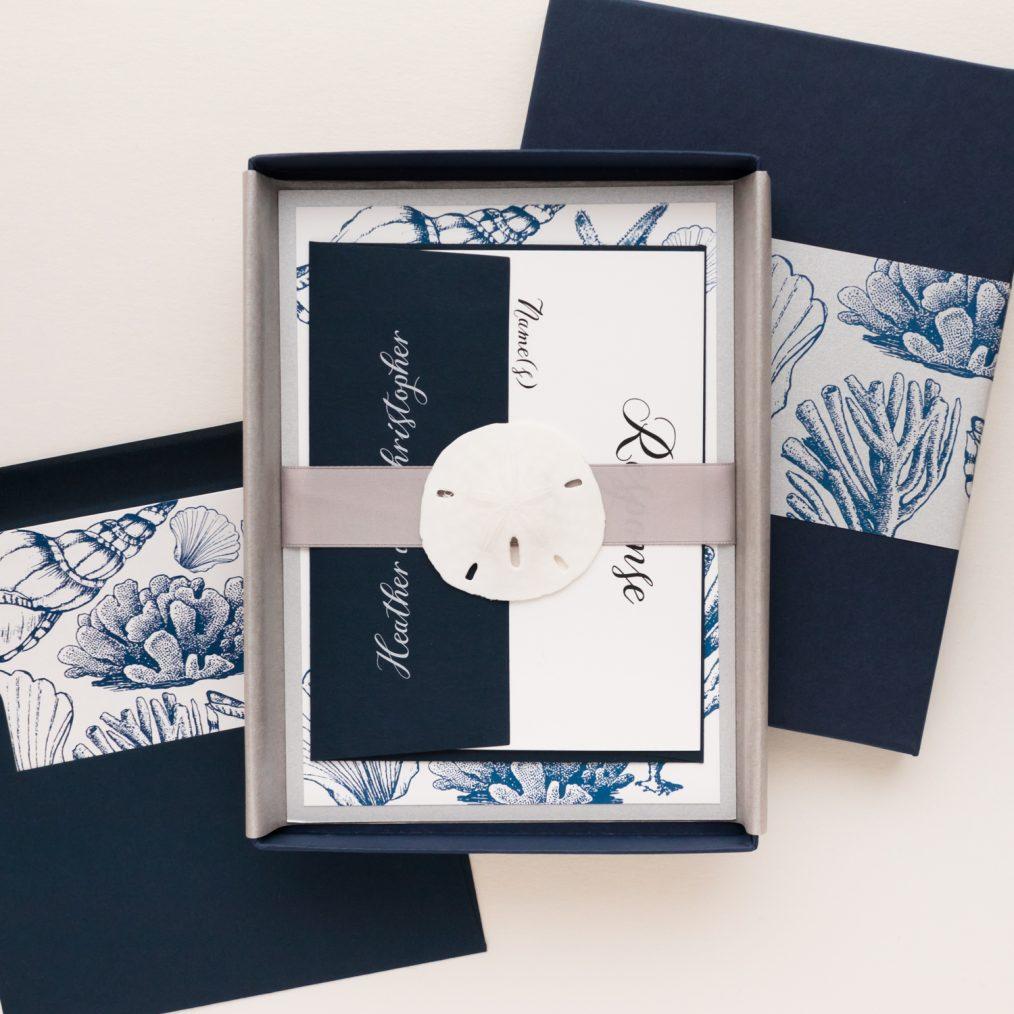 Unique Beach Seashell Boxed Wedding Invitations