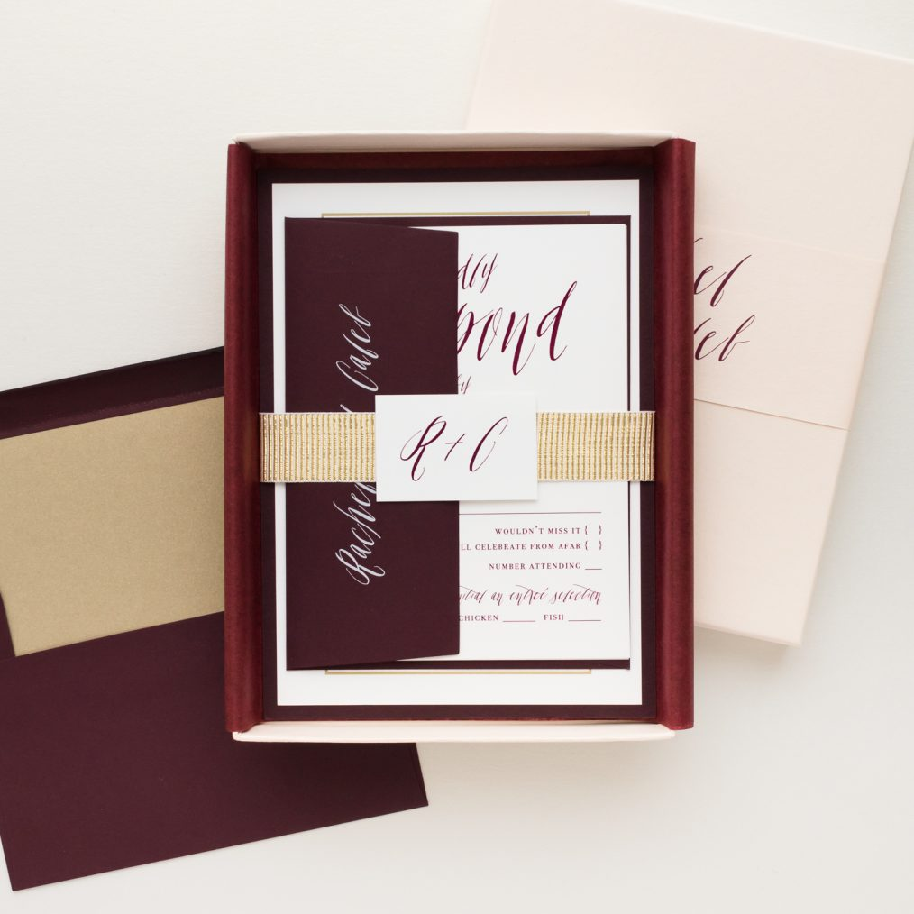 Unique Burgundy & Blush Boxed Wedding Invitations