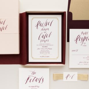 Blush & Burgundy Boxed Wedding Invitations