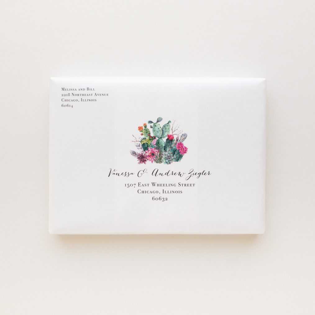 Unique Watercolor Cactus Boxed Wedding Invitations