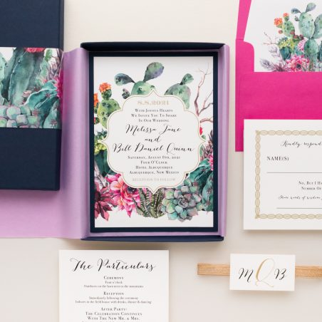 Unique Watercolor Cactus Boxed Wedding Invitations