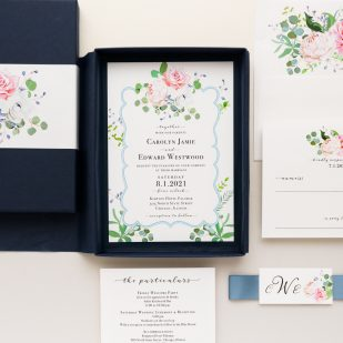 Dusty Blue Floral Boxed Wedding Invitations