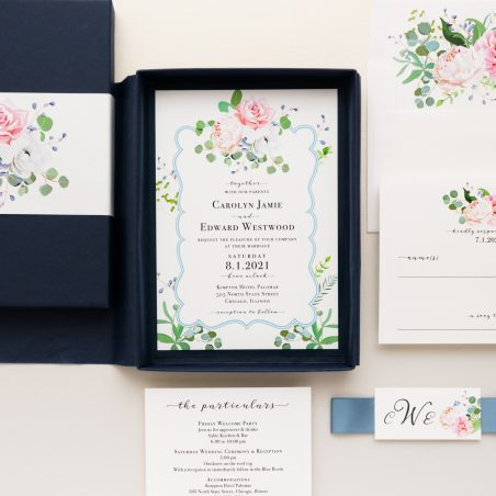 Unique Navy & Blue Floral Boxed Wedding Invitations