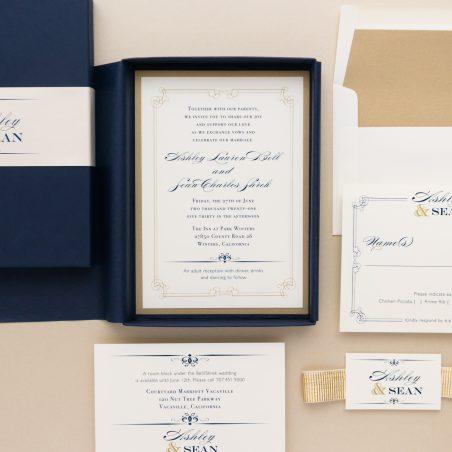 Elegant Navy & Gold Boxed Wedding Invitations