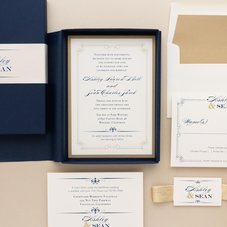 Wedding Invitations Stores: Elegant Navy Wedding Invitations Traditional Simple
