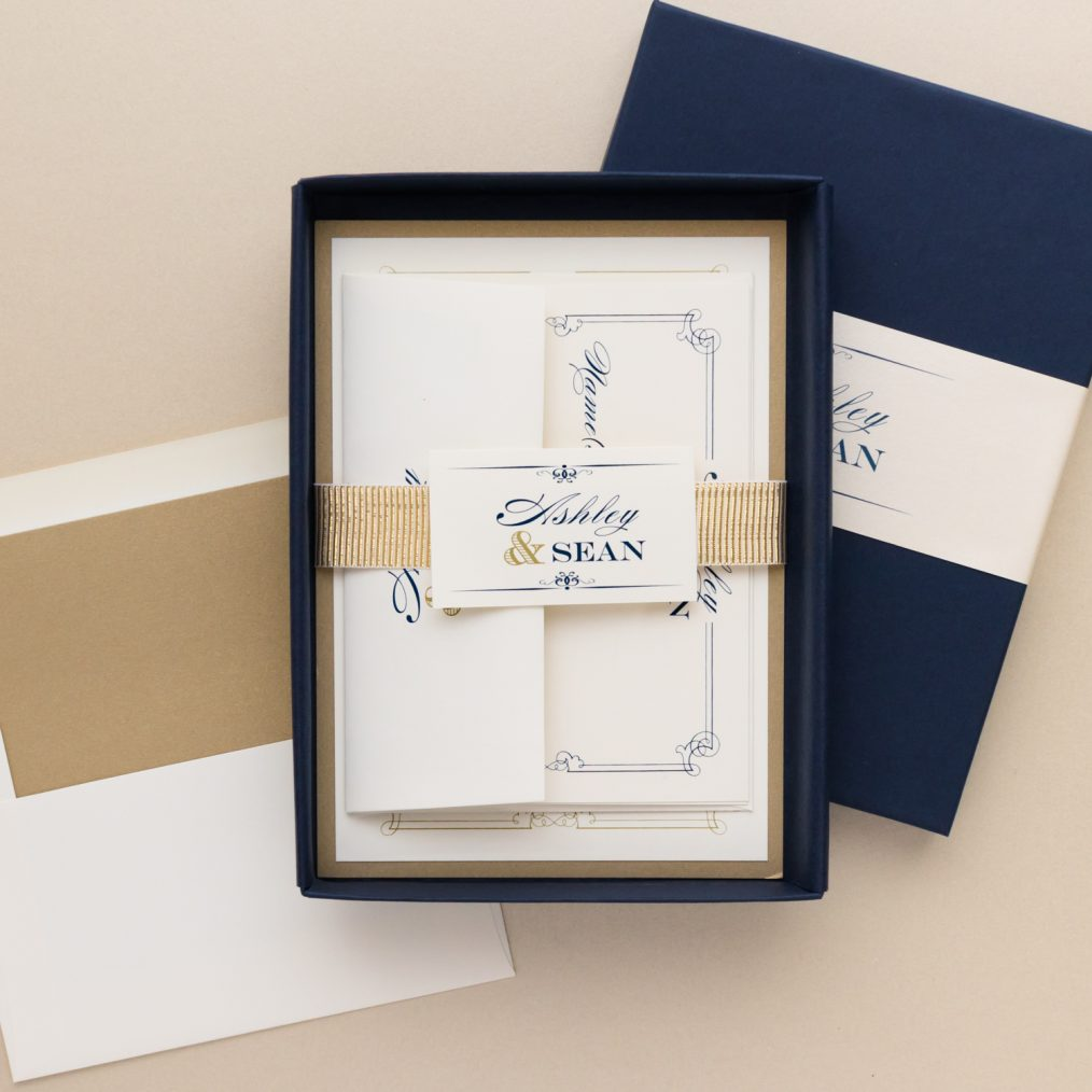 Elegant Navy & Gold Boxed Wedding Invitations
