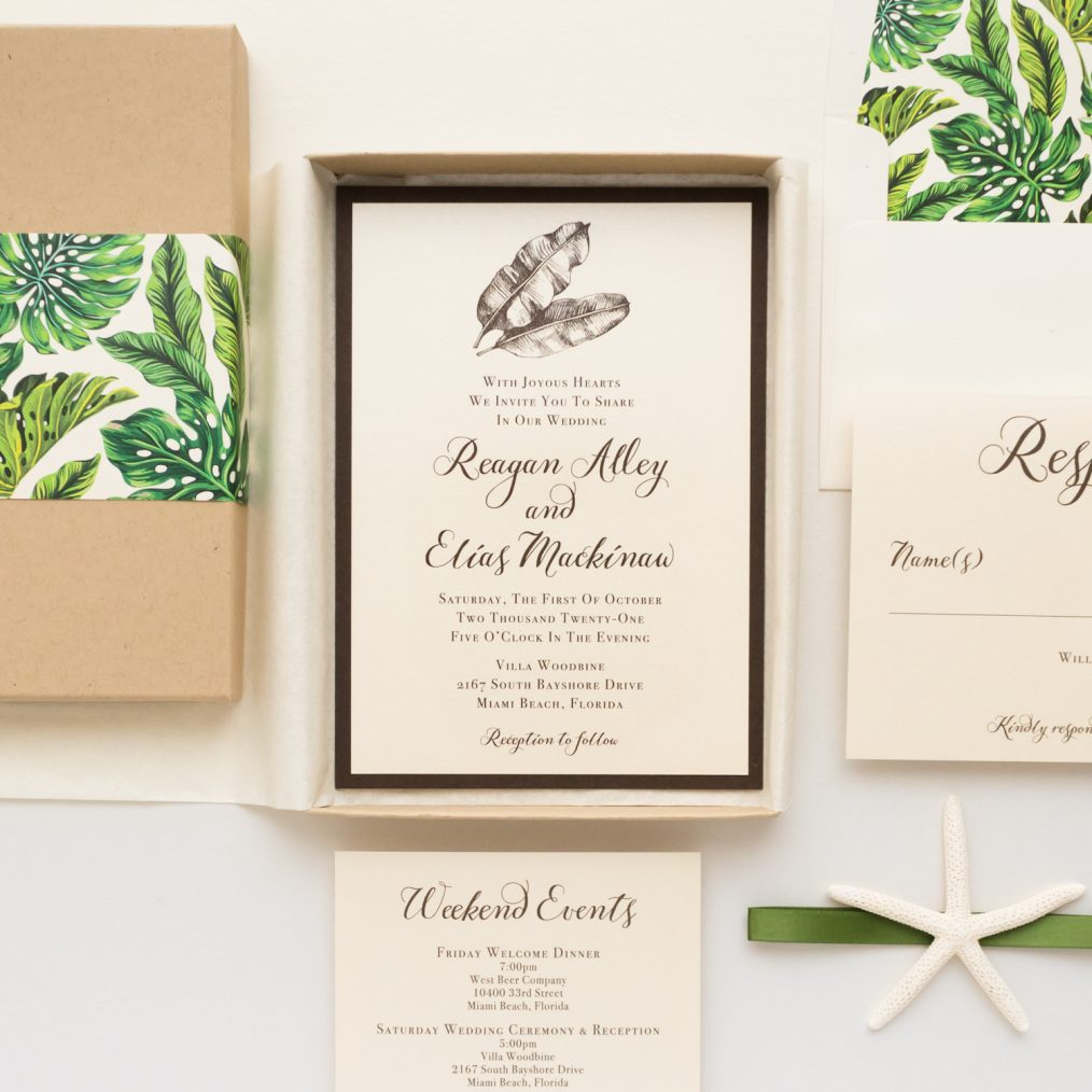 Unique Simple Tropical Boxed Wedding Invitations