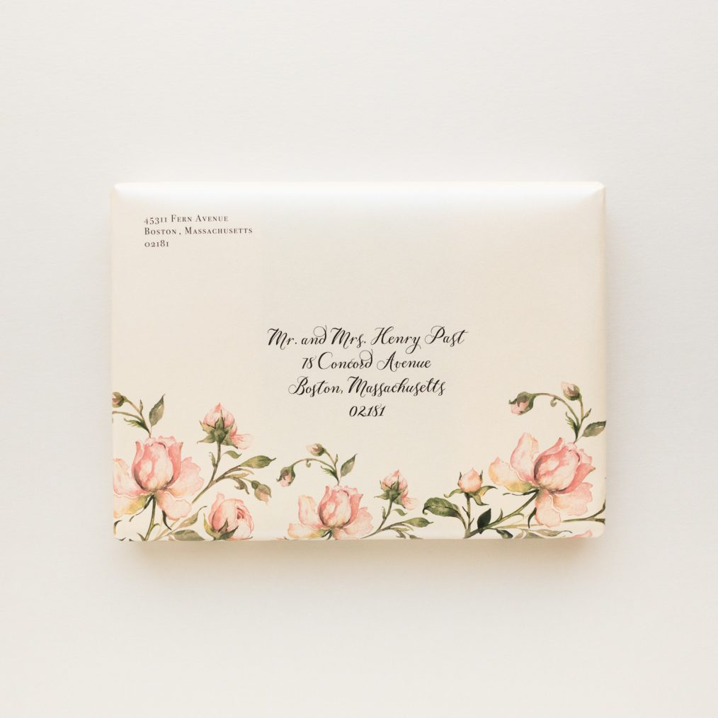 Unique Romantic Garden Roses Boxed Wedding Invitations