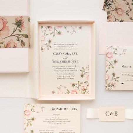 Unique Romantic Garden Roses Boxed Wedding Invitations