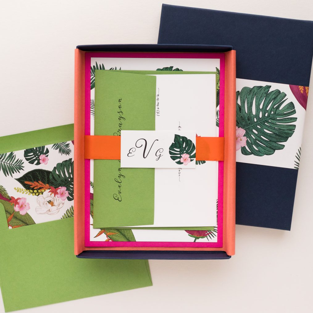 Unique Tropical Palm Boxed Destination Wedding Invitations