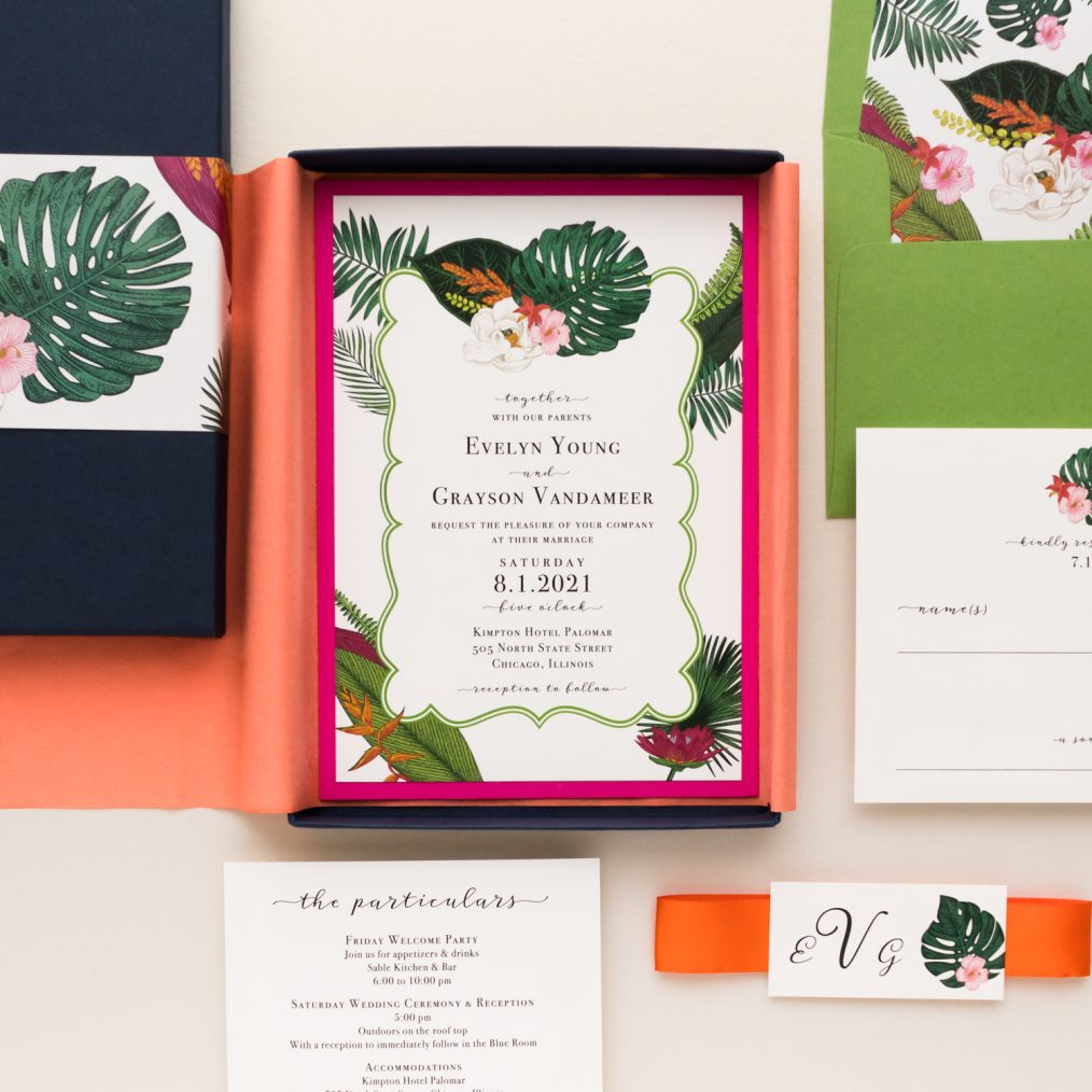 Unique Tropical Palm Boxed Destination Wedding Invitations