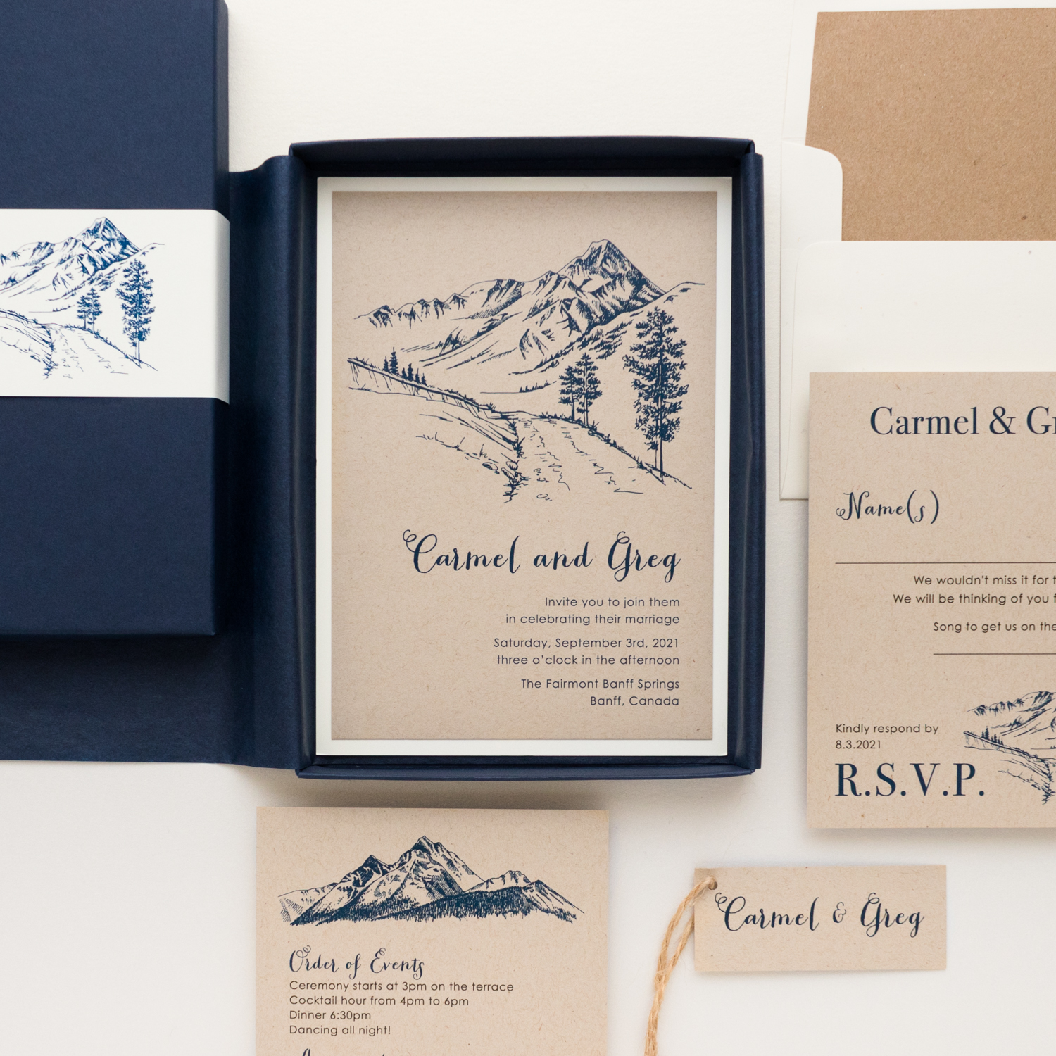 Rustic Mountain Boxed Wedding Invitations
