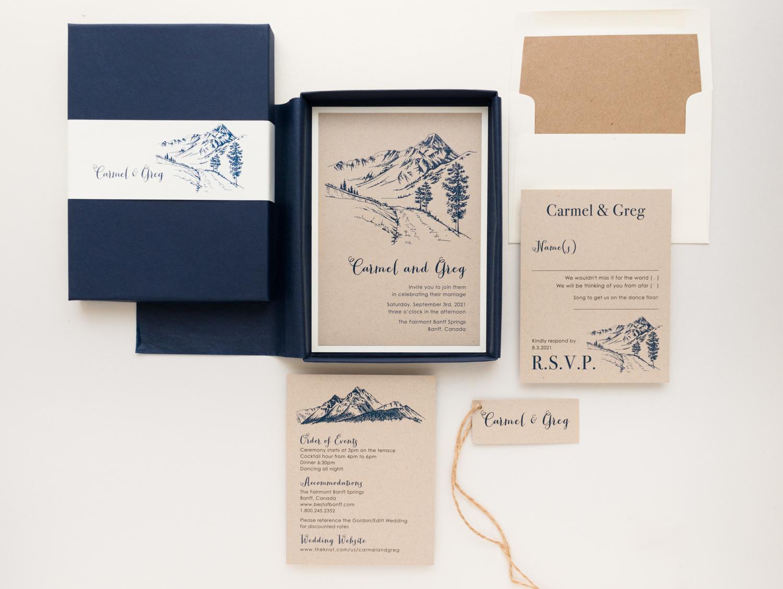 Navy Mountain Wedding Invitations Colorado Rustic Beacon Lane