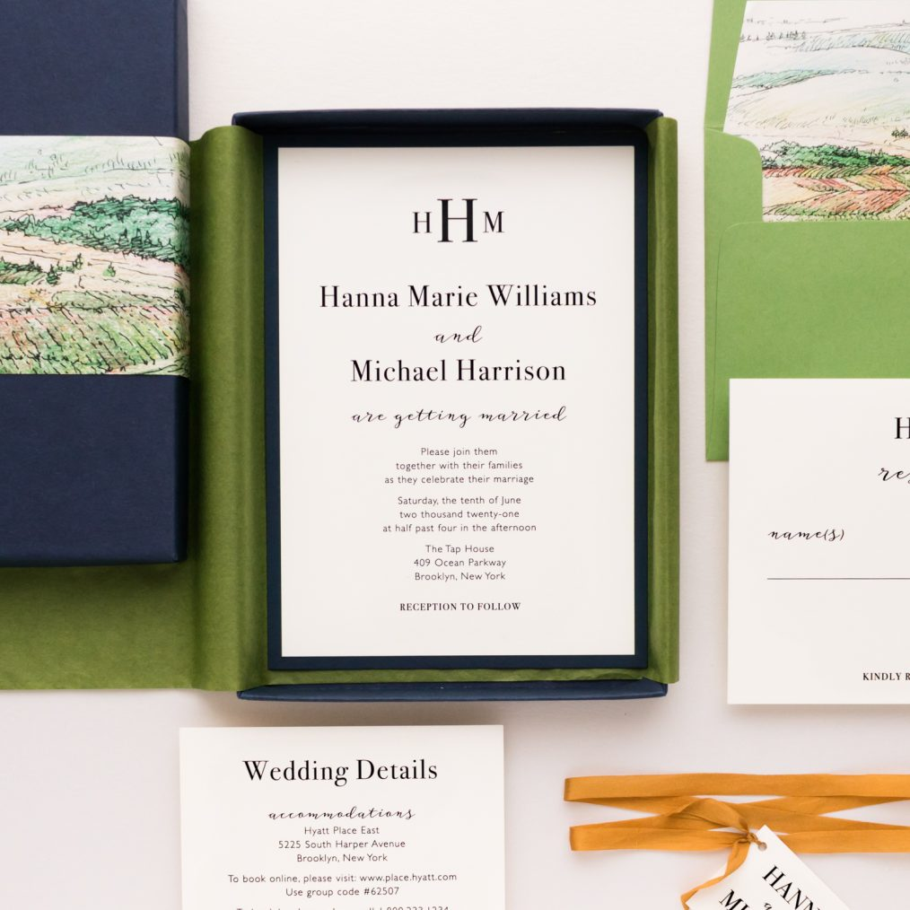 Unique Winery Vineyard Boxed Wedding Invitations