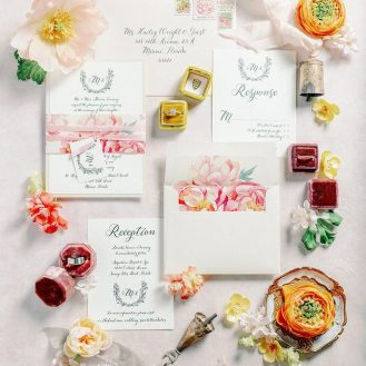 Beacon Lane Pink Peonies Wedding Invitations