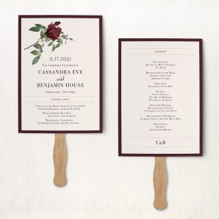 Ivory & Burgundy Ceremony Fans