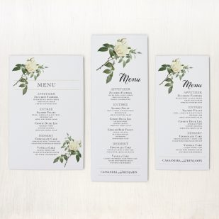 Ivory & White Flat Menu Cards