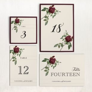 Ivory & Burgundy Flat Table Numbers