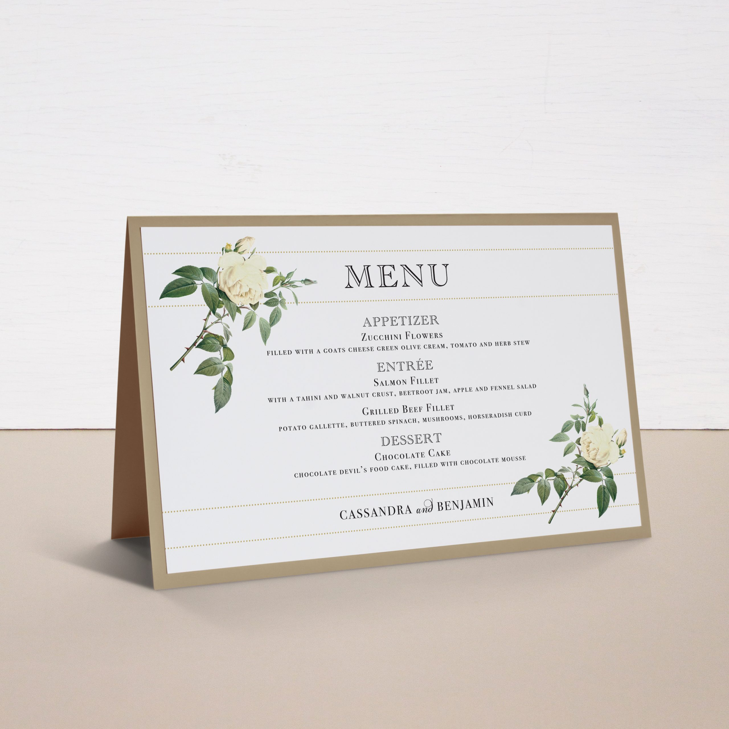 Ivory & White Tented Menu Cards