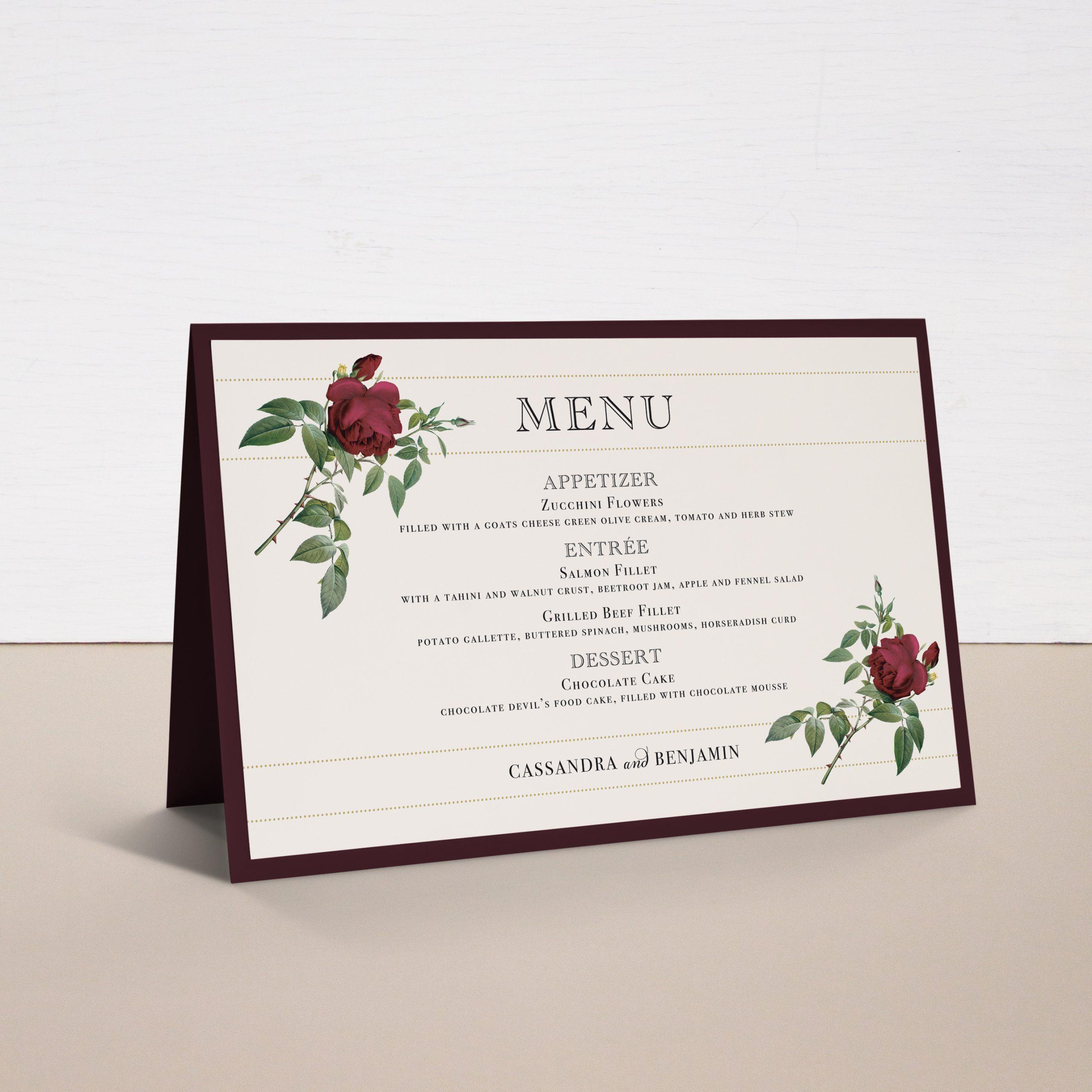 Ivory & Burgundy Tented Menu Cards