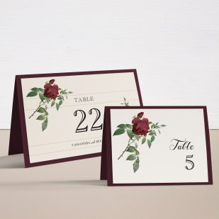 Ivory & Burgundy Tented Table Numbers