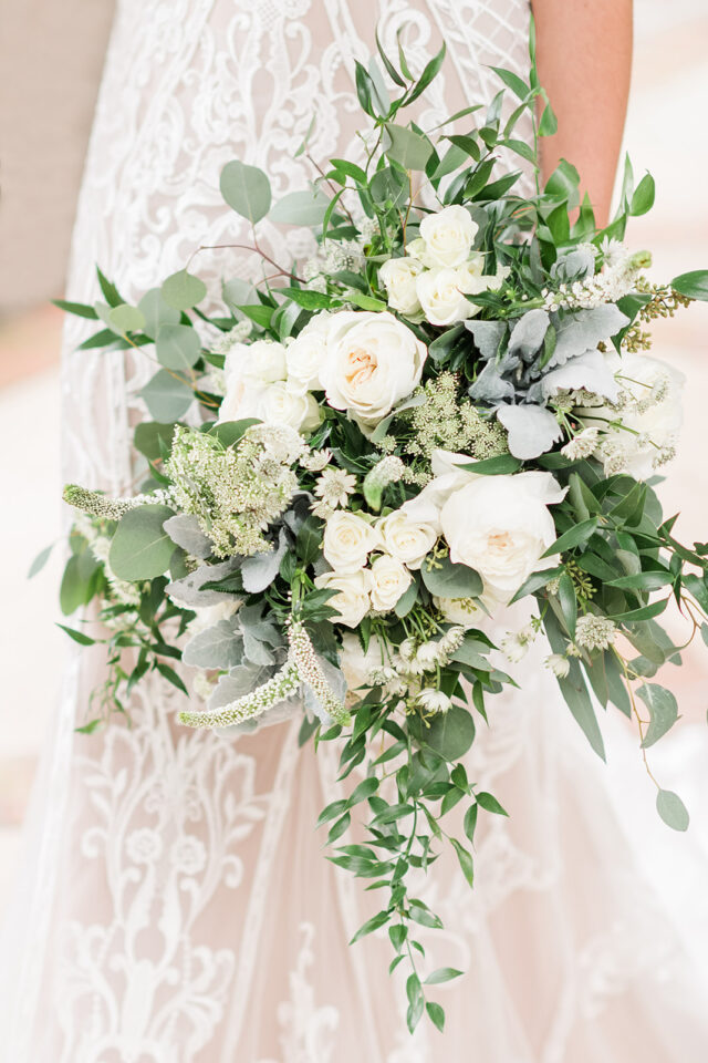 white floral bouquet with eucalyptus classic country club wedding