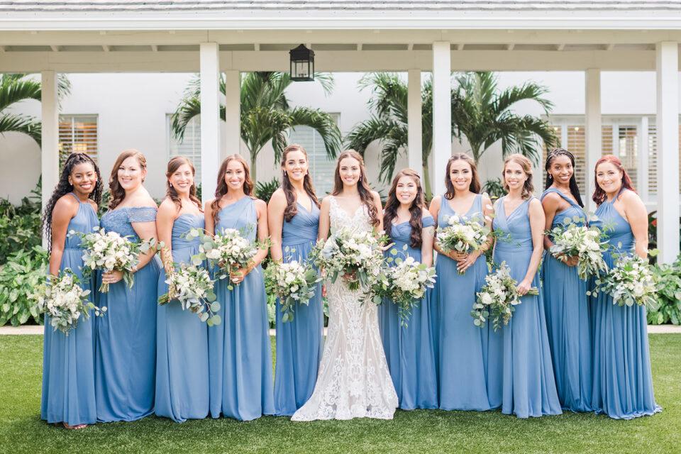 dusty blue bridesmaid dresses classic country club wedding