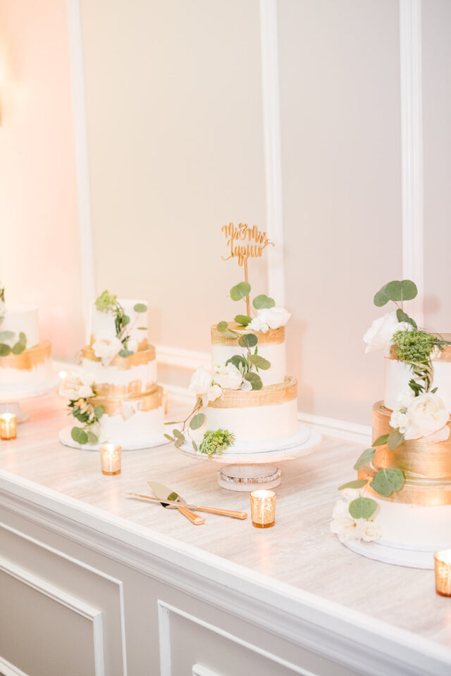 gold white floral wedding cake eucalyptus classic country club wedding