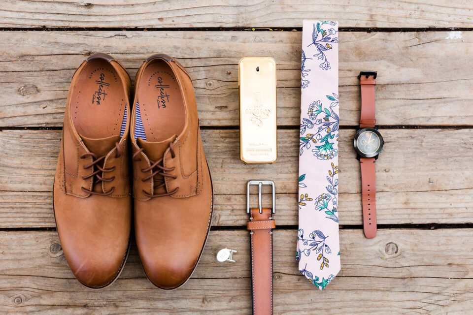 Groom Blush Floral Tie Accessories