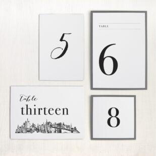 City Skyline Flat Table Numbers